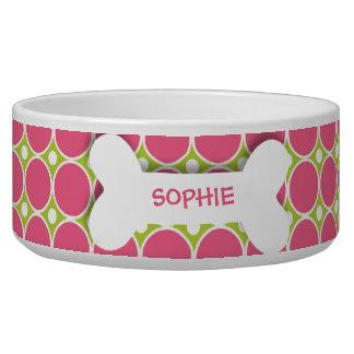 Personalisierte rosa Punktehundeknochen-Nahrung fü Wassernäpfe Für Hunde