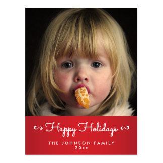 Personalisierte rote glückliche postkarte