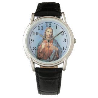 Personalisierte schwarze lederner Bügel-Uhr/Jesus Uhr