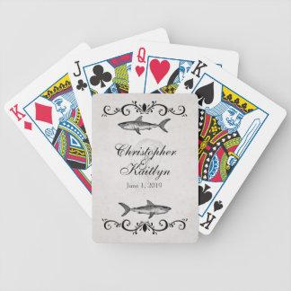 Personalisierte Vintage Haifisch-Quallen-Hochzeit Bicycle Spielkarten