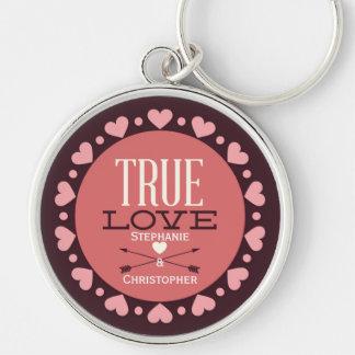 Personalisierte wahre Liebe-Typologie u. Herzen Schlüsselanhänger