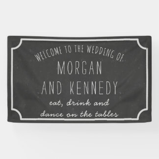 Personalisierte willkommene Tafel-Hochzeits-Fahne Banner