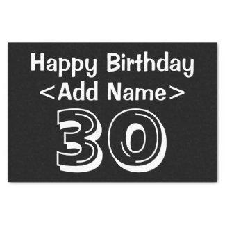 Personalisierter 30. Geburtstags-Themed Seidenpapier