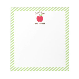 Personalisierter Apple-Lehrer-Notizblock, grün Notizblock