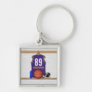 Personalisierter Basketball Jersey (SEITE) Silberfarbener Quadratischer Schlüsselanhänger