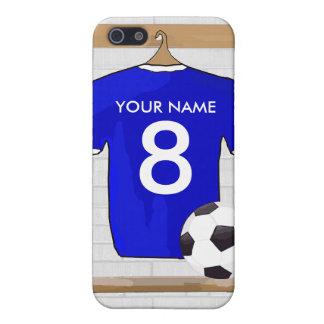 Personalisierter blauer weißer Fußball-Fußball iPhone 5 Schutzhüllen