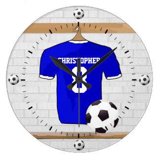 Personalisierter blauer weißer Fußball-Fußball Wanduhr