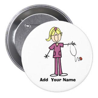 Personalisierter blonder Strichmännchen-Krankensch Anstecknadel