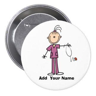 Personalisierter brünetter Strichmännchen-Krankens Buttons