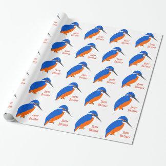Personalisierter Eisvogel-Entwurfs-Geburtstag Geschenkpapier
