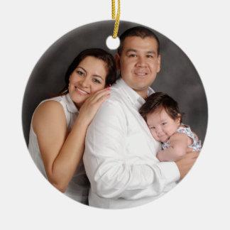 Personalisierter Familien-Foto-Feiertag Keramik Ornament