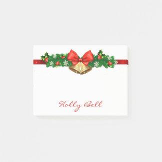 Personalisierter Feiertags-WeihnachtsWreath Bell Post-it Klebezettel