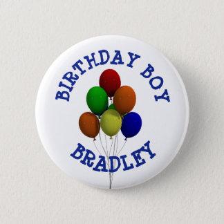 Personalisierter Geburtstags-Jungen-Ballon-Knopf Runder Button 5,1 Cm