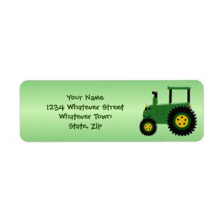 Personalisierter grüner Traktor Rückversand-Adressaufkleber