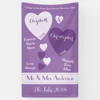 Personalisierter Hochzeits-Hintergrund lila und Banner