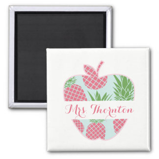 Personalisierter Lehrer Preppy Ananas-Druck-Apples Quadratischer Magnet