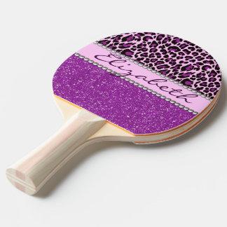 Personalisierter lila Leopard-Druck-Glitter Tischtennis Schläger