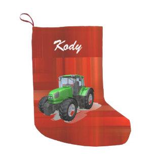 Personalisierter moderner grüner Traktor auf Rot Kleiner Weihnachtsstrumpf
