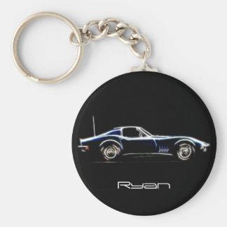 Personalisierter Name Chevrolet Corvette 1968 Keyc Schlüsselanhänger