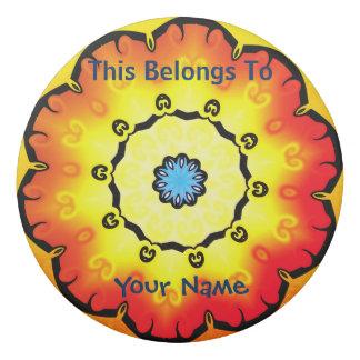 Personalisierter orange und gelbe Blumen-runder Radiergummis 0