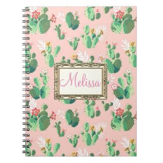 Personalisierter rosa Kaktus blüht Notizbuch Notizblock