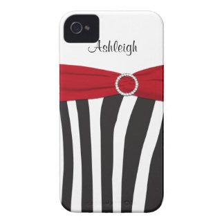 Personalisierter roter, schwarzer, weißer Zebra Case-Mate iPhone 4 Hüllen