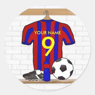 Personalisierter roter und blauer Fußball-Fußball Runder Aufkleber