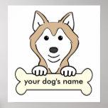 Personalisierter sibirischer Schlittenhund Poster
