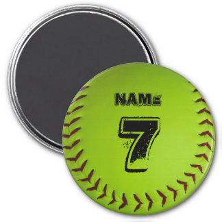Personalisierter Softball-Magnet Runder Magnet 7,6 Cm