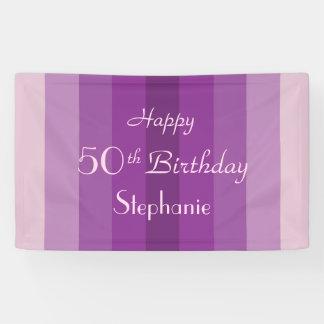 Personalisiertes 50. Geburtstags-Zeichen-lila Banner