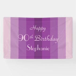 Personalisiertes 90. Geburtstags-Zeichen-lila Banner