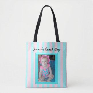 Personalisiertes Baby-Foto-Strand-Taschen-Rosa u.