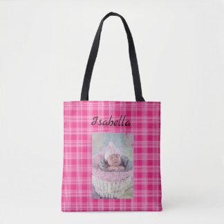 Personalisiertes Baby-Foto und rosa karierte