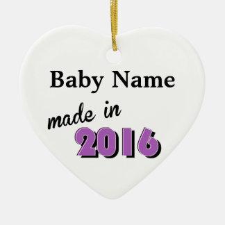 Personalisiertes Baby machte im Jahre 2016 lila Keramik Ornament