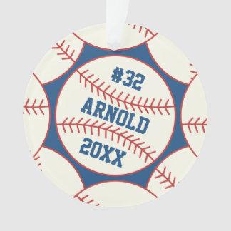 Personalisiertes Baseball-Muster-Blau Ornament