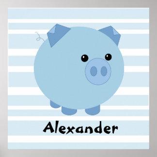 Personalisiertes blaues Chubby Schwein-Plakat Poster