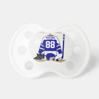 Personalisiertes blaues und weißes Eis-Hockey Schnuller