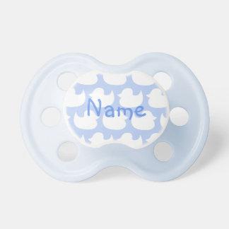 Personalisiertes blaues und weißes Enten-Muster Baby Schnuller