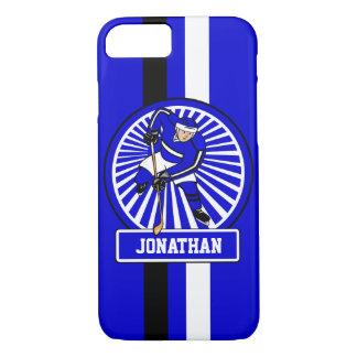 Personalisiertes Eis-Hockey-Spieler-Blau iPhone 7 Hülle