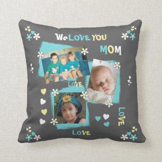Personalisiertes Foto für graues Blumen der Kissen