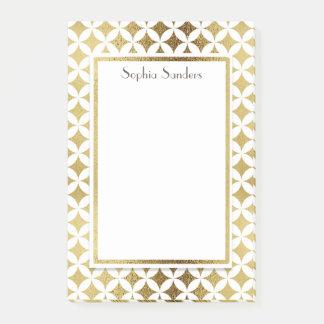 Personalisiertes glänzendes Gold und weiße Post-it Klebezettel