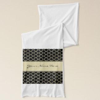Personalisiertes goldenes Quatrefoil auf Schwarzem Schal