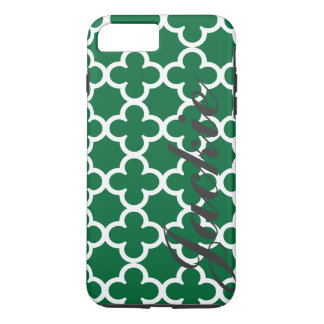 Personalisiertes grünes Quatrefoil Namensmuster iPhone 8 Plus/7 Plus Hülle