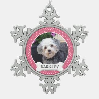 Personalisiertes Haustier-Foto mit dem Schneeflocken Zinn-Ornament