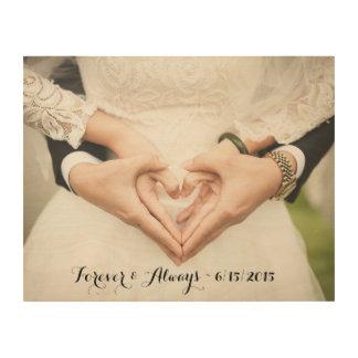 Personalisiertes Hochzeits-Foto für immer u. immer Holzdruck