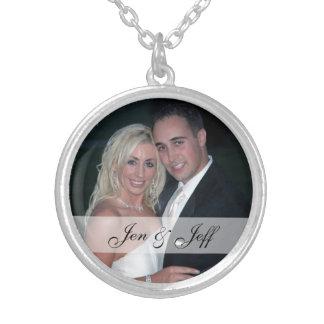 Personalisiertes Hochzeits-Foto-Silber überzogene Versilberte Kette