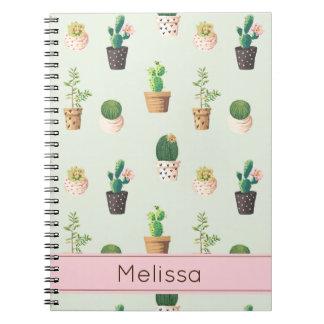 Personalisiertes Kaktus-Druck-Notizbuch Spiral Notizblock