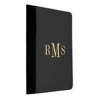 Personalisiertes Monogramm-modernes schwarzes Padfolio