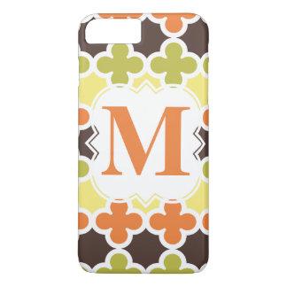 Personalisiertes Monogramm Retro Quatrefoil Muster iPhone 8 Plus/7 Plus Hülle