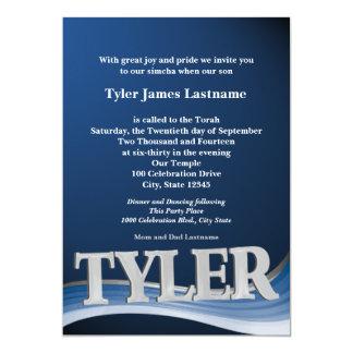 Personalisiertes NamensTyler Bar Mitzvah 12,7 X 17,8 Cm Einladungskarte